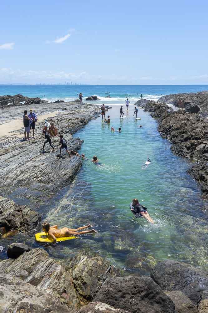 swimming at snapper rocks at the gold coast