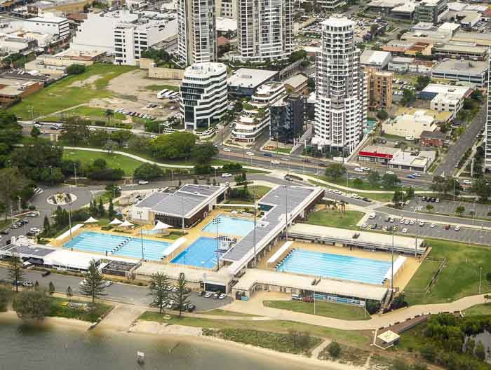gold coast aquatic centre seen from a helicopter